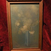 Delicate fine floral and vase pastel painting possibly Hungarian or eastern European art