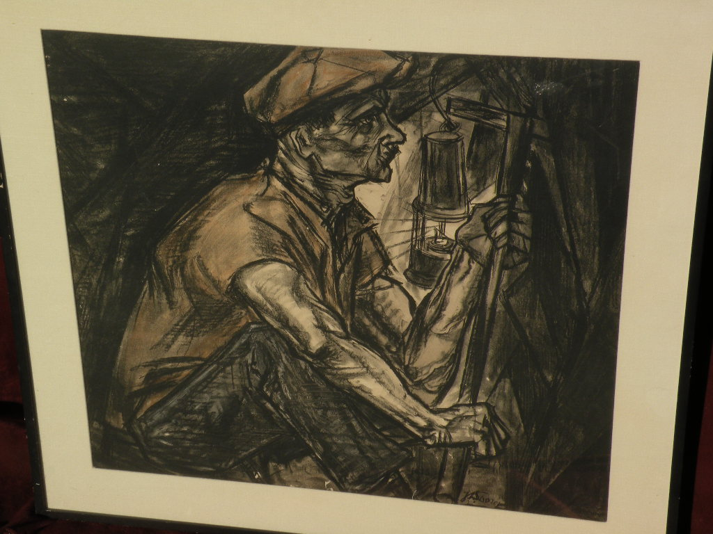 """JAN TOOROP (1858-1928) major Dutch artist lithograph dated 1915 """"The Miner"""""""