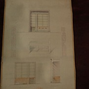 Mid-Century Modern/Art Deco inspired original signed 1939 dated architectural drawing for bank