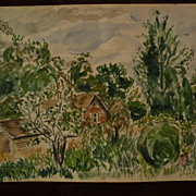 ELIAS NEWMAN (1903-1999) Israeli American art watercolor painting small shacks and trees dated