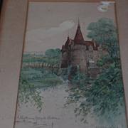 CHARLES B. BIGELOW (1860-1924) nineteenth century American art watercolor painting of French c