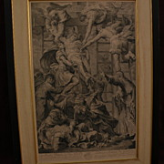 Old master 18th century print large classical scene detailed 1720 copper engraving Descent Fro