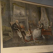 "Currier & Ives American 19th century lithograph restrike print ""Four Seasons of Life:  Old Age"""