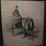 SOLD GEORG WILHELM STOOPENDAAL (1866-1953) Swedish art ink drawing early 20th century