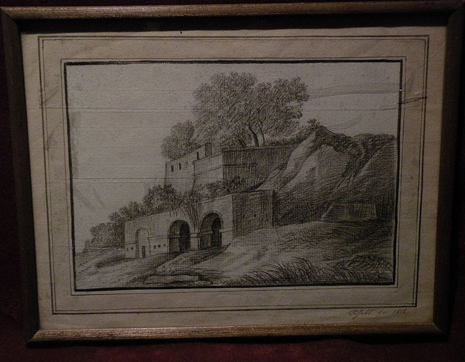 19th century signed European pencil drawing dated 1818
