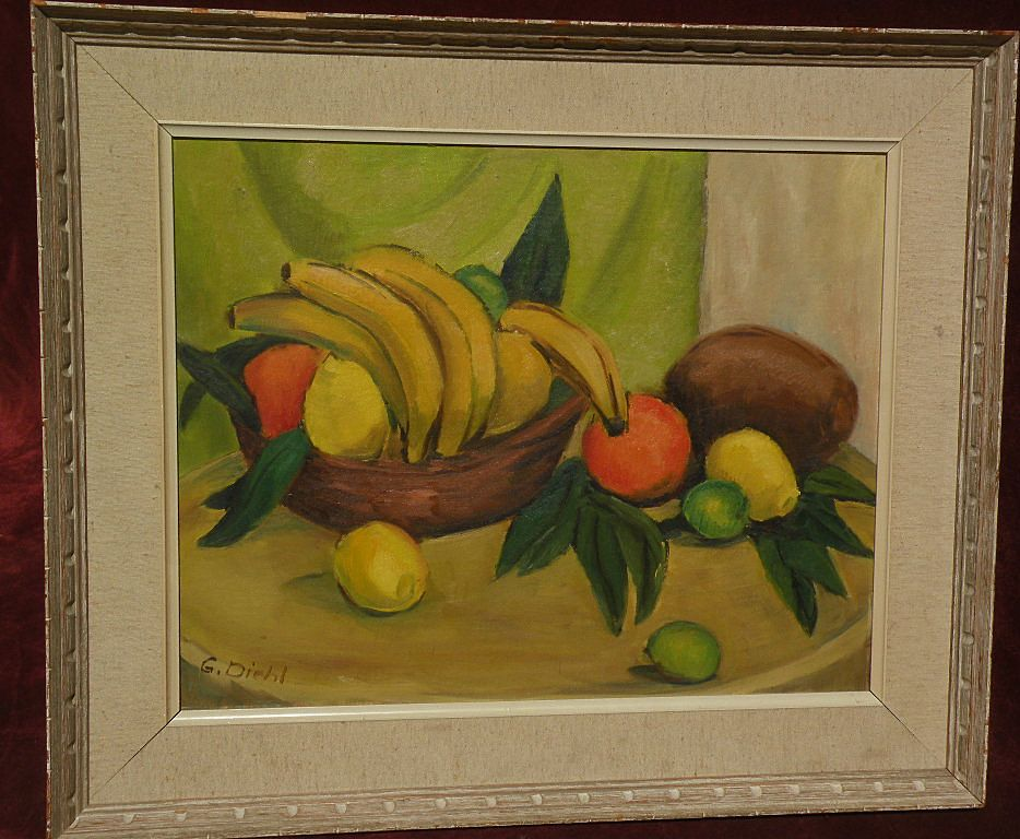 Modernist cubistic signed still life painting fruit in a bowl on a table