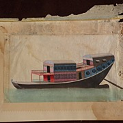China Trade school gouache 19th century detailed drawing of a junk style boat