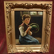European art quality vintage oil painting of classically dressed young lady signed C. DE VRIES