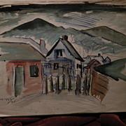 """Colorado art 1924 watercolor painting """"Colorado Springs"""""""