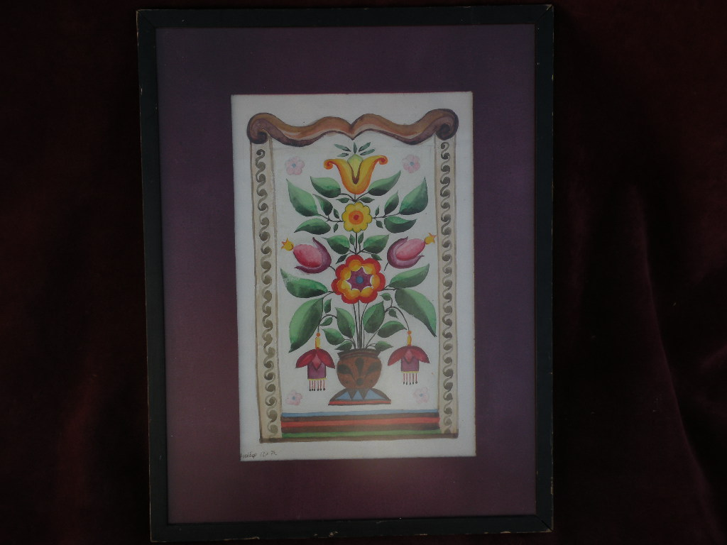 Decorative Russian folk art painting resembling fraktur signed and dated 1974