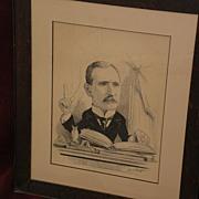 FRED MORGAN (1856-1927) important English artist political cartoon ink drawing