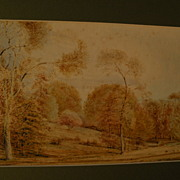 English pastoral signed 1830 watercolor cattle and trees in a rural landscape