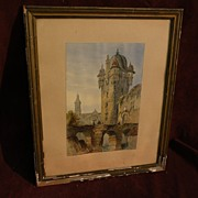 Circa 1840 European watercolor painting of bridge, ruins and tower in Old World city probably