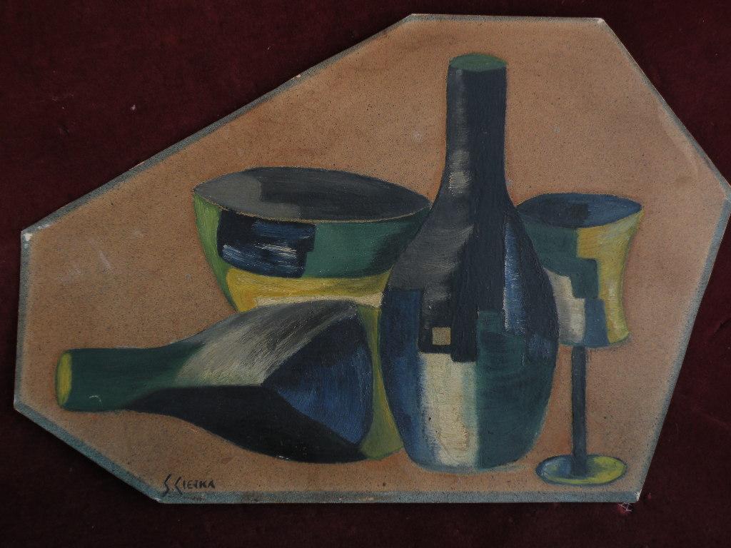 Cubist tabletop still life art signed by possibly Polish artist circa 1940