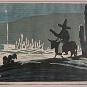 LEWIS CARLETON RYAN (1894-1982) pair of Southwestern & California woodblock prints