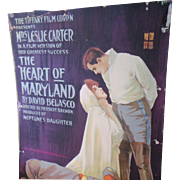 """Silent Film Poster Card 1915 """"The Heart of Maryland"""""""