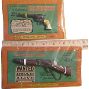 Marx Miniature Toy Guns on Display Cards