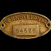 PRR (PENNSYLVANIA) railroad - heavy brass equipment numbered identification plate