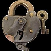 SOLD CCC&StL (Cleveland, Cincinnati,Chicago & St. Louis Railway ) Steel SWITCH LOCK and key