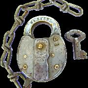 WABASH railroad Slaymaker steel SWITCH LOCK/ Brass shackle with KEY