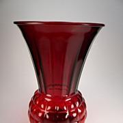SOLD Vintage 1940's Royal Ruby Red Pineapple Vase (R597)