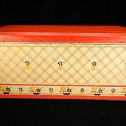 Vintage Flower Pots Loaf Bread Box with Red Lid