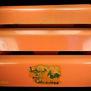 Vintage Salmon Kitchen Dispenser with Farm & Rooster Motif