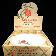 Vintage 8 Pc. Rosecrest Snack Set by Federal Glass Co. in Original Box with Original Price Sti