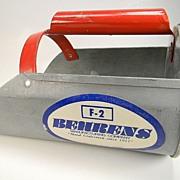Vintage Behrens Metal Scoop with Red Handle & Original Label