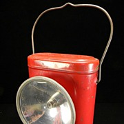 Vintage 1940's - 1950's Red Delta Husky Dry Cell Lantern with Original Instructions