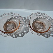 """Two Pink """"Old Colony"""", """"Lace Edge"""", """"Open Lace"""" Cereal Bowls"""
