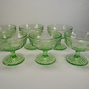 "Six Green Cameo ""Ballerina"" Sherbets by Hocking Glass Co."