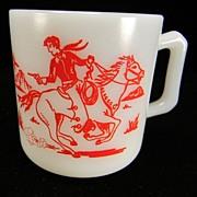SOLD Vintage Hazel Atlas Kiddie Ware Cowboy & Indian Milk Mug