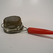 Vintage 1930's Androck Strainer with Red Bullet Bakelite Handle