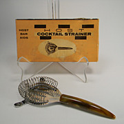 SOLD Vintage Host Cocktail Strainer with Caramel Swirl Bakelite Handle in Original Box