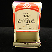 "Vintage Red & Cream Advertising ""Wm. Schock & Sons Dairy"" Match Safe"