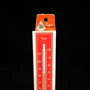 Vintage Red & Cream Taylor Thermometer with Original Price Tag