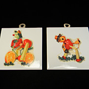Two Vintage Fruit & Vegetable Trivets/Wall Plaques