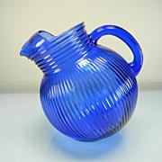 SOLD Vintage Hazel Atlas Cobalt Blue/Ritz Blue Fine Rib Tilt Pitcher