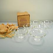 Six Vintage Crystal Glasbake Custard Cups in Original Box