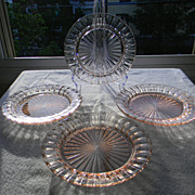Four Pink Fortune Sherbet Plates