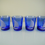 """SOLD Four 1930's Cobalt Blue """"Ships"""" Old Fashioned Tumblers by Hazel Atlas"""