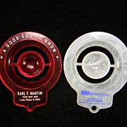 Two Vintage Plastic Egg Separators with Advertisements