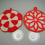 Two Vintage Red & White Hand-Crocheted Pot Holders