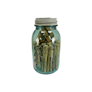 Vintage Quart Blue Ball Mason Jar with Old Wooden CLothespins