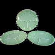Three Fire King Jadite 3-Compartment Restaurant Ware Grill Plates