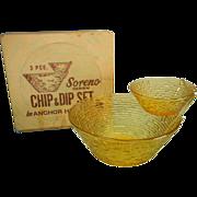 SOLD Vintage Anchor Hocking Soreno Chip & Dip Set in Original Box