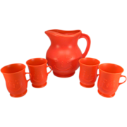 Vintage Plastic Kool-Aid Pitcher & Mug Set in Red