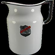 Vintage White 4 Qt. Enamel Pitcher with Original Label