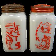 """Vintage McKee Tipp CIty """"Siesta"""" Red Sombrero Salt & Pepper Shakers"""